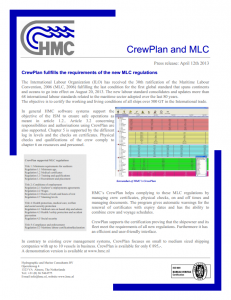 CrewPlan complies MLC regulations