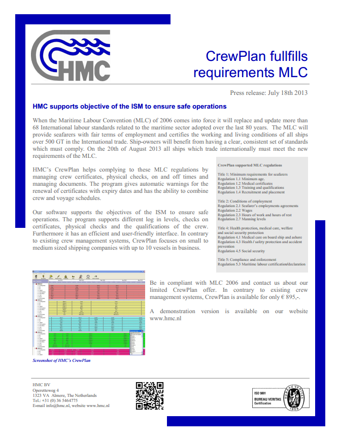 CrewPlan fullfills requirements MLC
